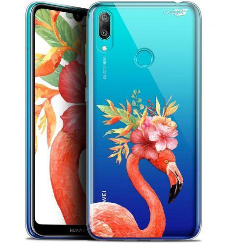 "Coque Gel Huawei Y7 / Prime / Pro 2019 (6.26"") Extra Fine Motif -  Flamant Rose Fleuri"