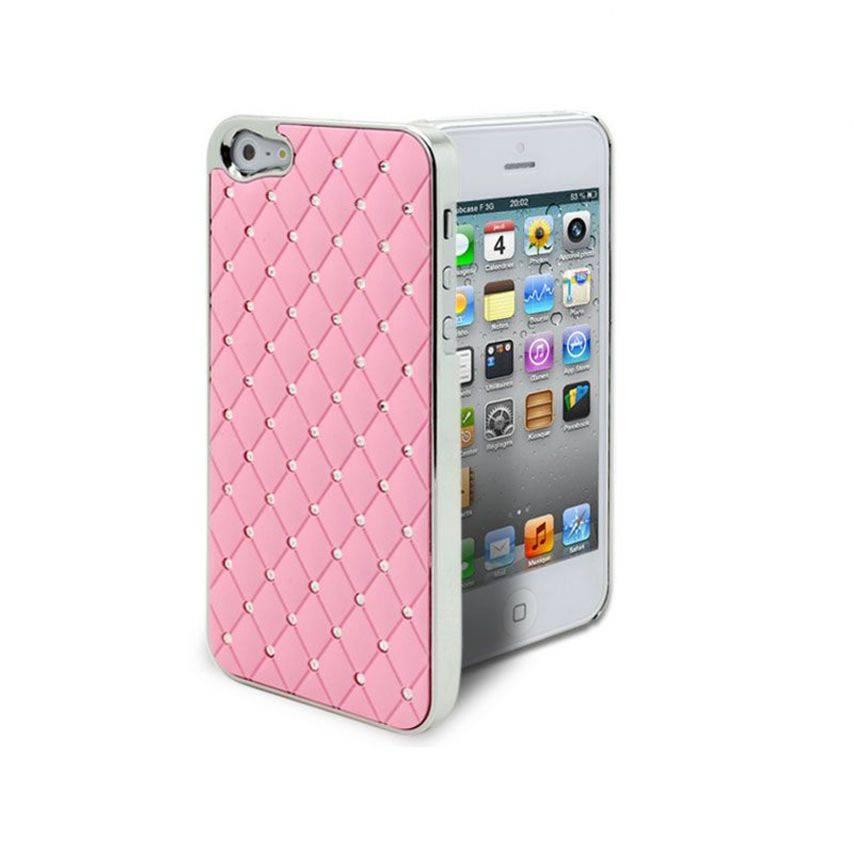 Vue complémentaire de Coque iPhone 5 Luxury Satin & Diamant Rose