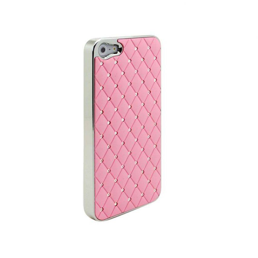 Photo réelle de Coque iPhone 5 Luxury Satin & Diamant Rose
