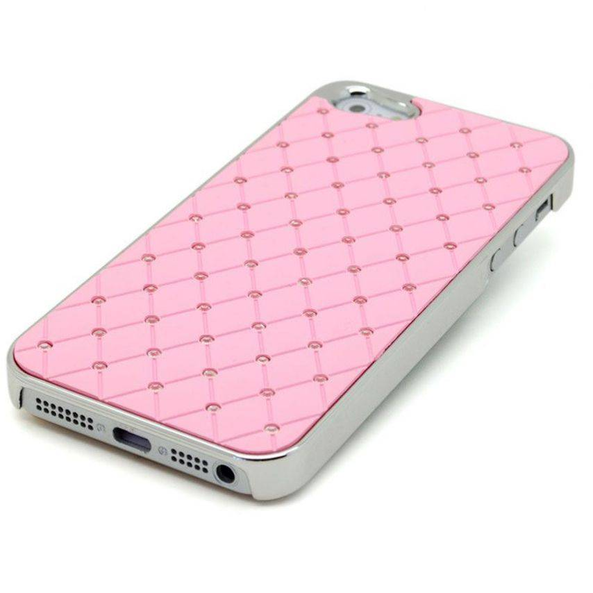 Visuel unique de Coque iPhone 5 Luxury Satin & Diamant Rose