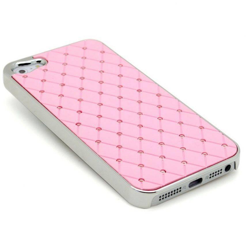 Visuel supplémentaire de Coque iPhone 5 Luxury Satin & Diamant Rose