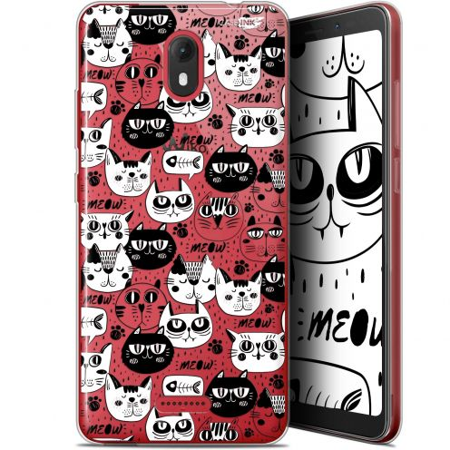 """Coque Gel Wiko View GO (5.7"""") Extra Fine Motif -  Chat Noir Chat Blanc"""