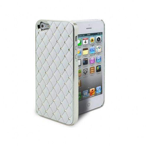 Coque iPhone 5 Luxury Satin & Diamant Blanche