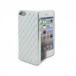 Vue complémentaire de Coque iPhone 5 Luxury Satin & Diamant Blanche