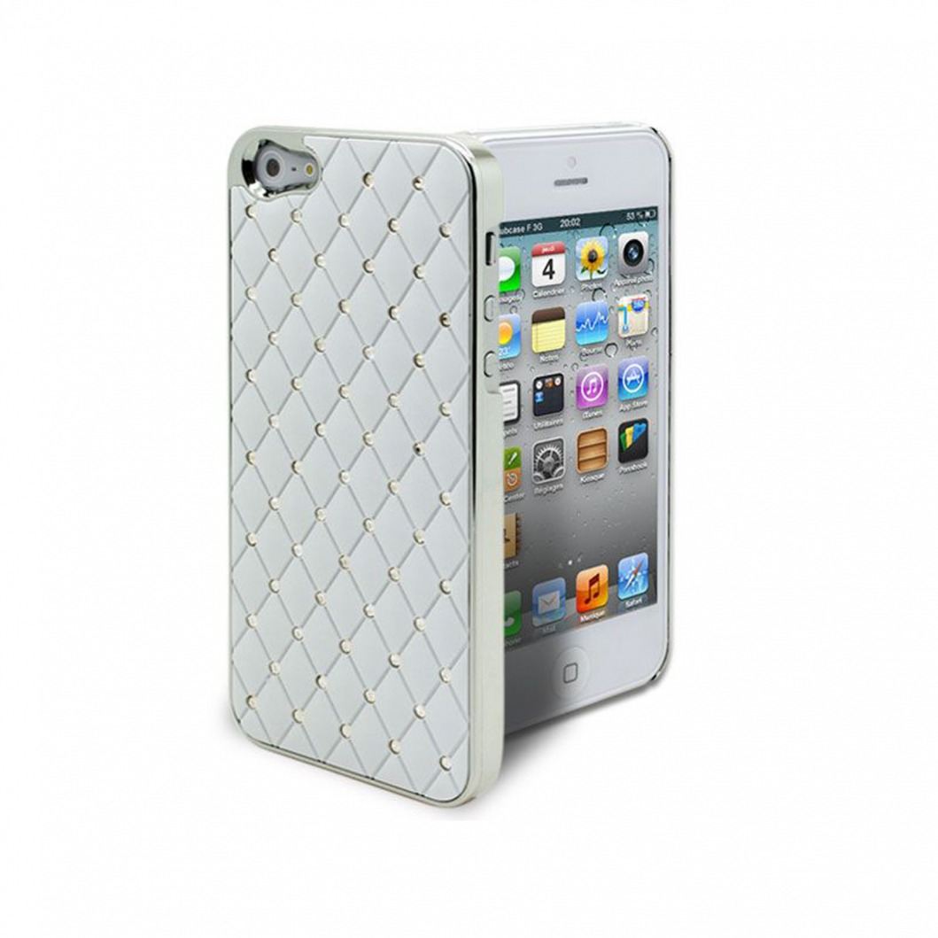 coque iphone 5 luxury satin diamant blanche