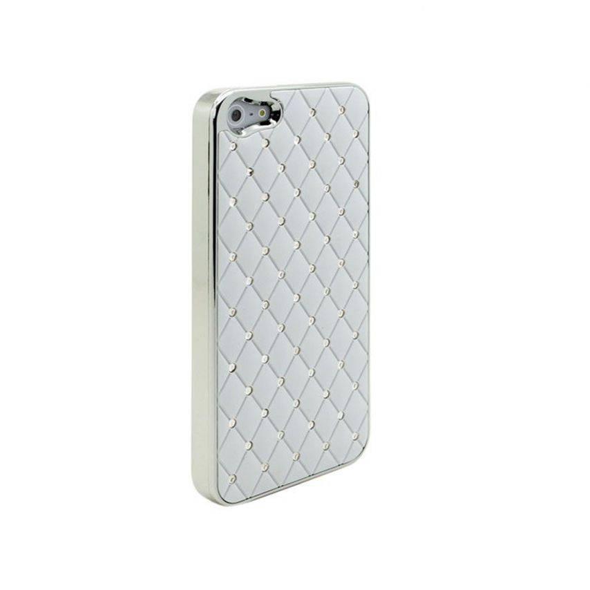 Photo réelle de Coque iPhone 5 Luxury Satin & Diamant Blanche