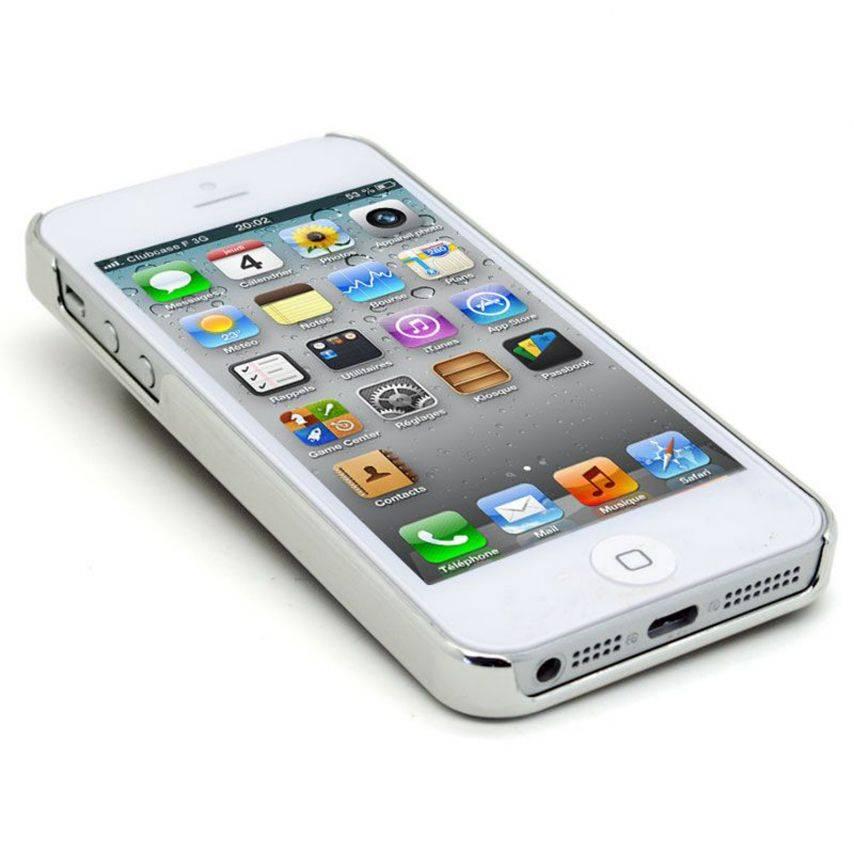 Vue portée de Coque iPhone 5 Luxury Satin & Diamant Blanche