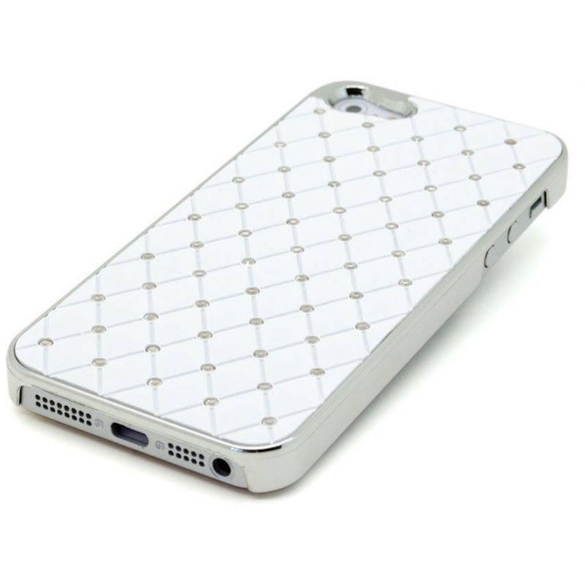 Visuel unique de Coque iPhone 5 Luxury Satin & Diamant Blanche