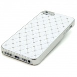 Visuel unique de Coque iPhone 5 Luxury Satin & Diamant Blanche