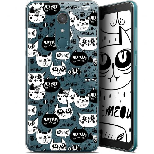 "Coque Gel Wiko View XL (5.99"") Extra Fine Motif -  Chat Noir Chat Blanc"