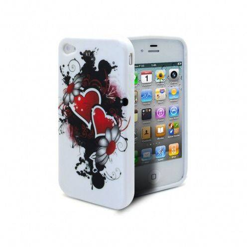Coque iPhone 4S/4 Hearts ABSTRACTION Rouge