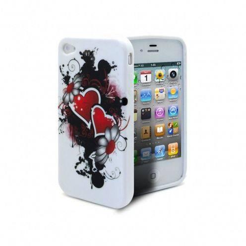 Vue complémentaire de Coque iPhone 4 Hearts ABSTRACTION Rouge