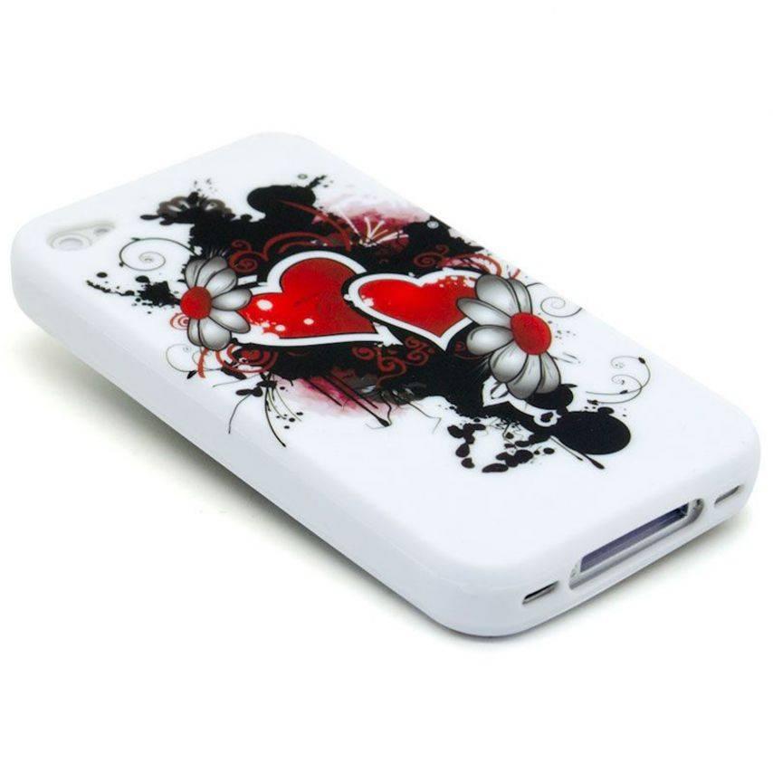 Vue portée de Coque iPhone 4 Hearts ABSTRACTION Rouge