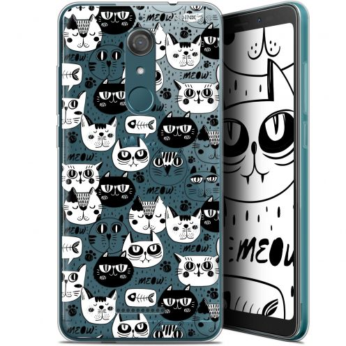 """Coque Gel Wiko View (5.7"""") Extra Fine Motif - Chat Noir Chat Blanc"""