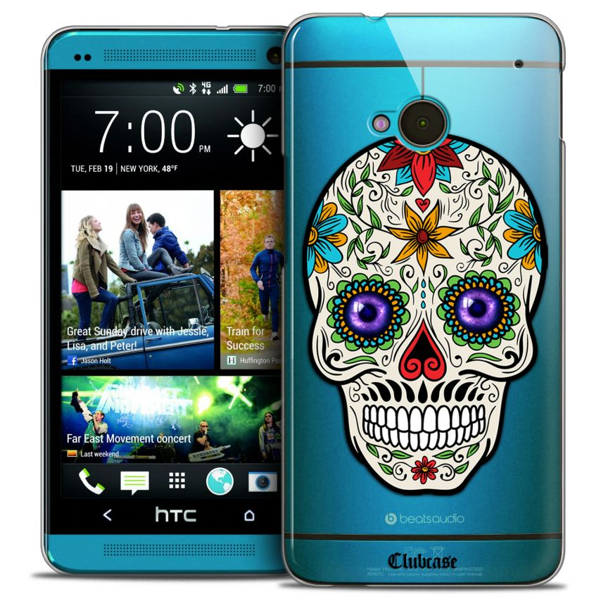 Coque Crystal HTC One (M7) Extra Fine Skull - Maria's Flower