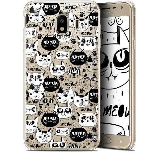 "Coque Gel Samsung Galaxy J4 2018 J400 (5.7"") Extra Fine Motif -  Chat Noir Chat Blanc"