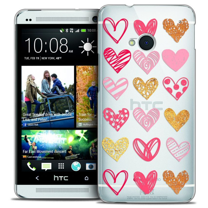 Coque Crystal HTC One (M7) Extra Fine Sweetie - Doodling Hearts