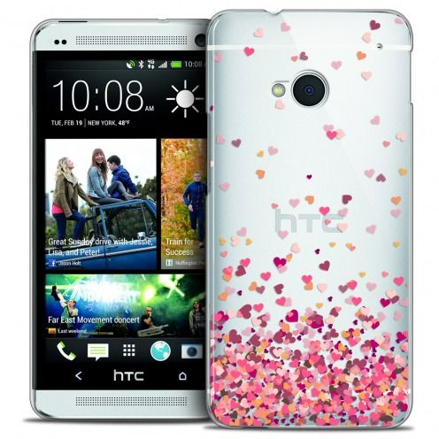Coque Crystal HTC One (M7) Extra Fine Sweetie - Heart Flakes