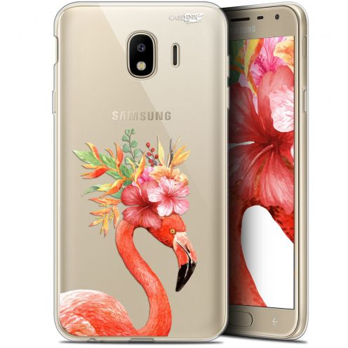 "Coque Gel Samsung Galaxy J4 2018 J400 (5.7"") Extra Fine Motif -  Flamant Rose Fleuri"