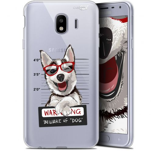 "Coque Gel Samsung Galaxy J4 2018 J400 (5.7"") Extra Fine Motif -  Beware The Husky Dog"