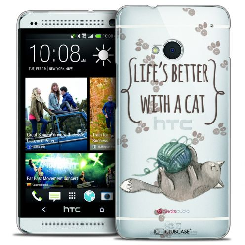 Coque Crystal HTC One (M7) Extra Fine Quote - Life's Better With a Cat