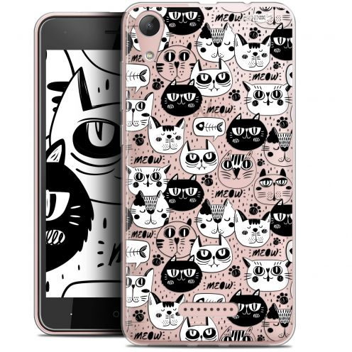 """Coque Gel Wiko Lenny 4 (5"""") Extra Fine Motif -  Chat Noir Chat Blanc"""