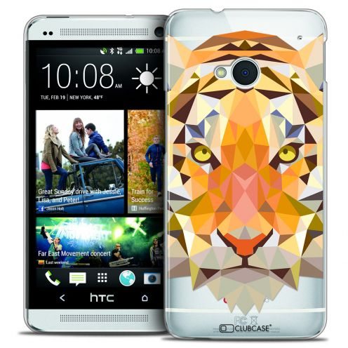 Coque Crystal HTC One (M7) Extra Fine Polygon Animals - Tigre