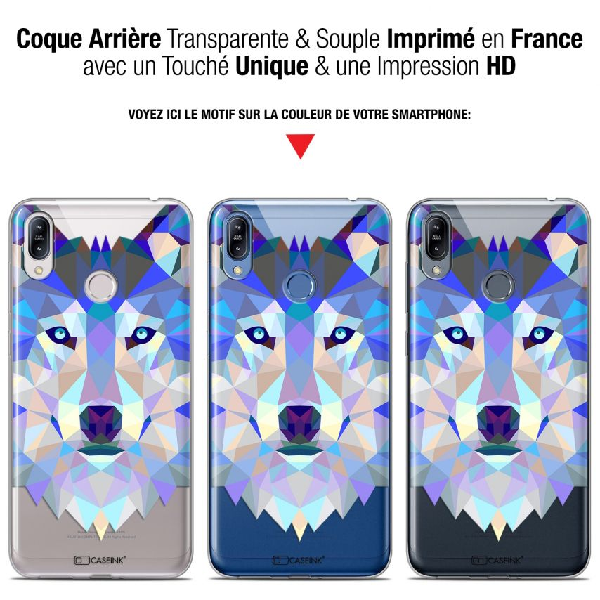 """Coque Gel Asus Zenfone Max (M2) ZB633KL (6.3"""") Extra Fine Polygon Animals - Loup"""