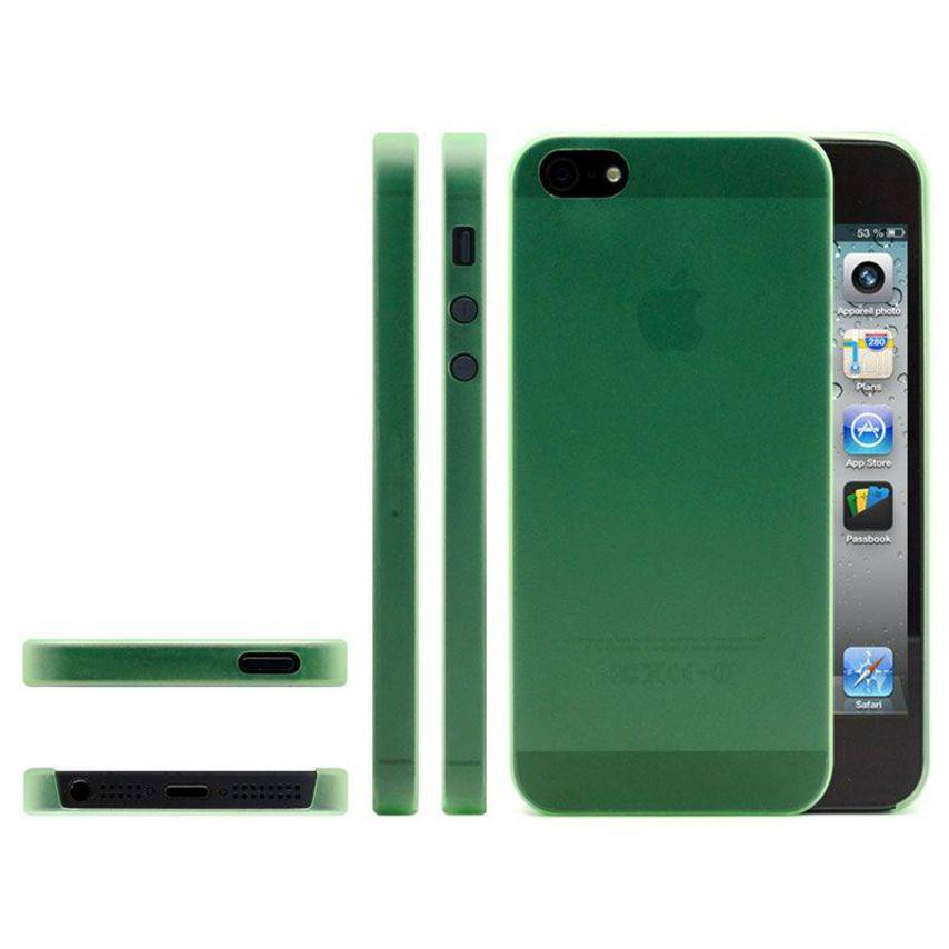 Photo réelle de Coque Ultra Fine0.3mm Frost iPhone 5 Verte