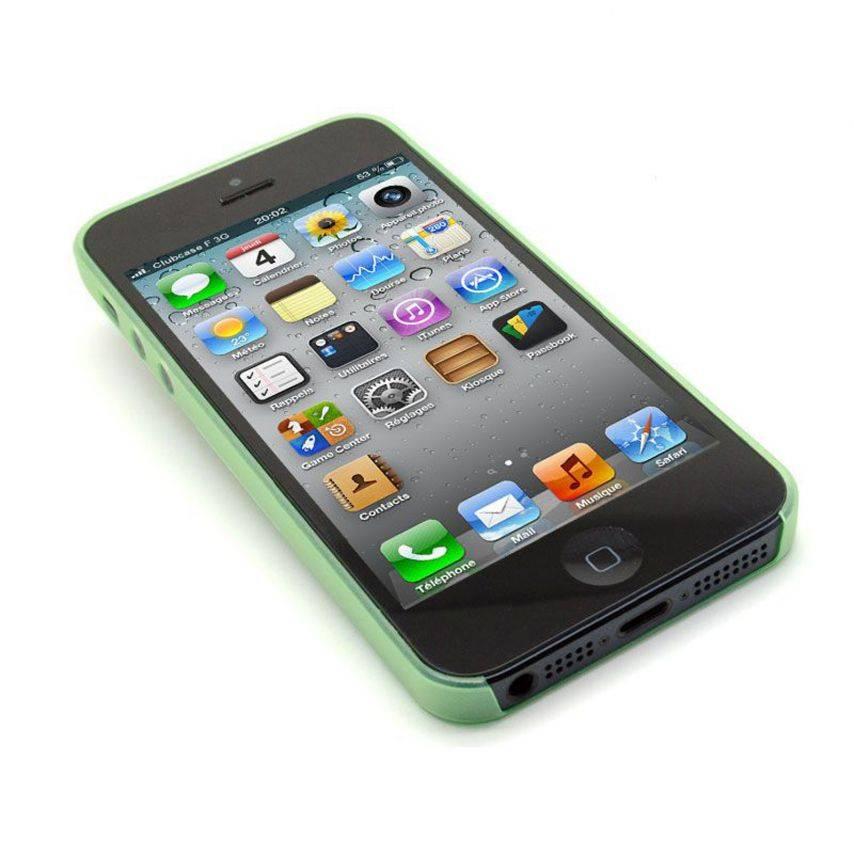 Vue portée de Coque Ultra Fine0.3mm Frost iPhone 5 Verte