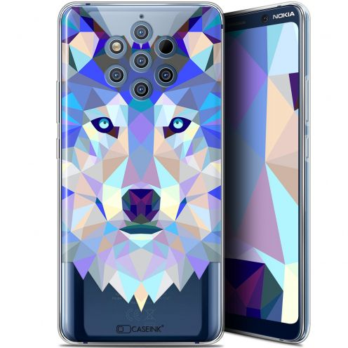 "Coque Gel Nokia 9 PureView (6"") Extra Fine Polygon Animals - Loup"