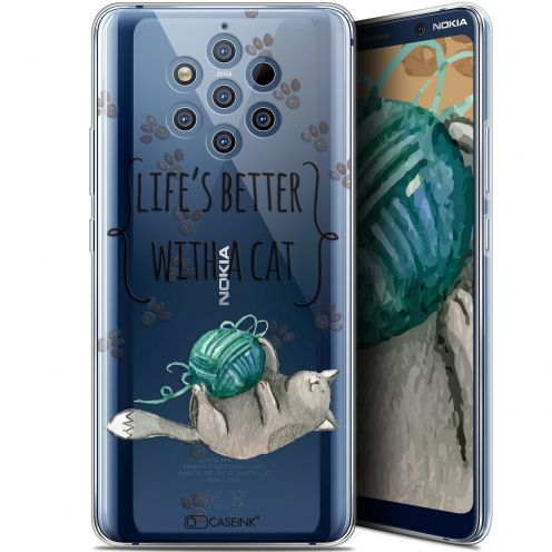 "Coque Gel Nokia 9 PureView (6"") Extra Fine Quote - Life's Better With a Cat"