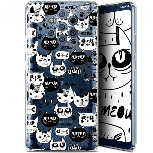 "Coque Gel Nokia 9 PureView (6"") Extra Fine Motif - Chat Noir Chat Blanc"
