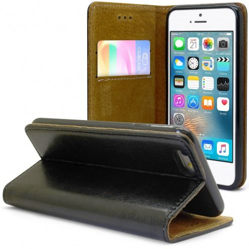 Etui Italia Folio Stand Apple iPhone 6 / 6s Cuir Véritable Bovin Noir