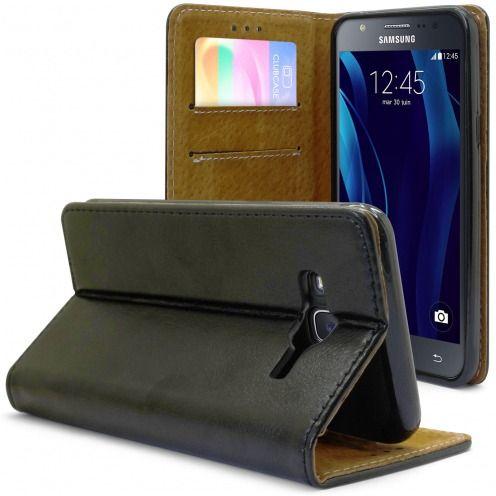 Etui Italia Folio Stand Samsung Galaxy J5 Cuir Véritable Bovin Noir