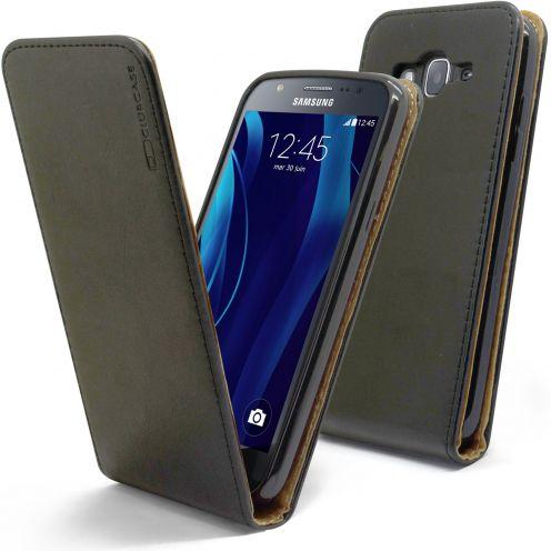 Etui Italia Flip Samsung Galaxy J5 J500 Cuir Véritable Bovin Noir