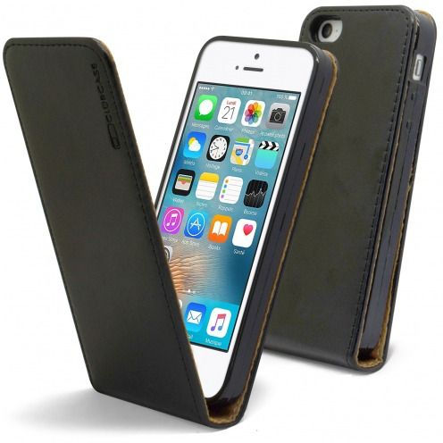Etui Italia Flip Apple iPhone 5/5S/SE Cuir Véritable Bovin Noir