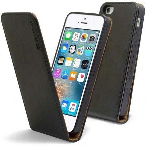Etui Italia Flip Apple iPhone 5/5S/SE Cuir Véritable Bovin Noir
