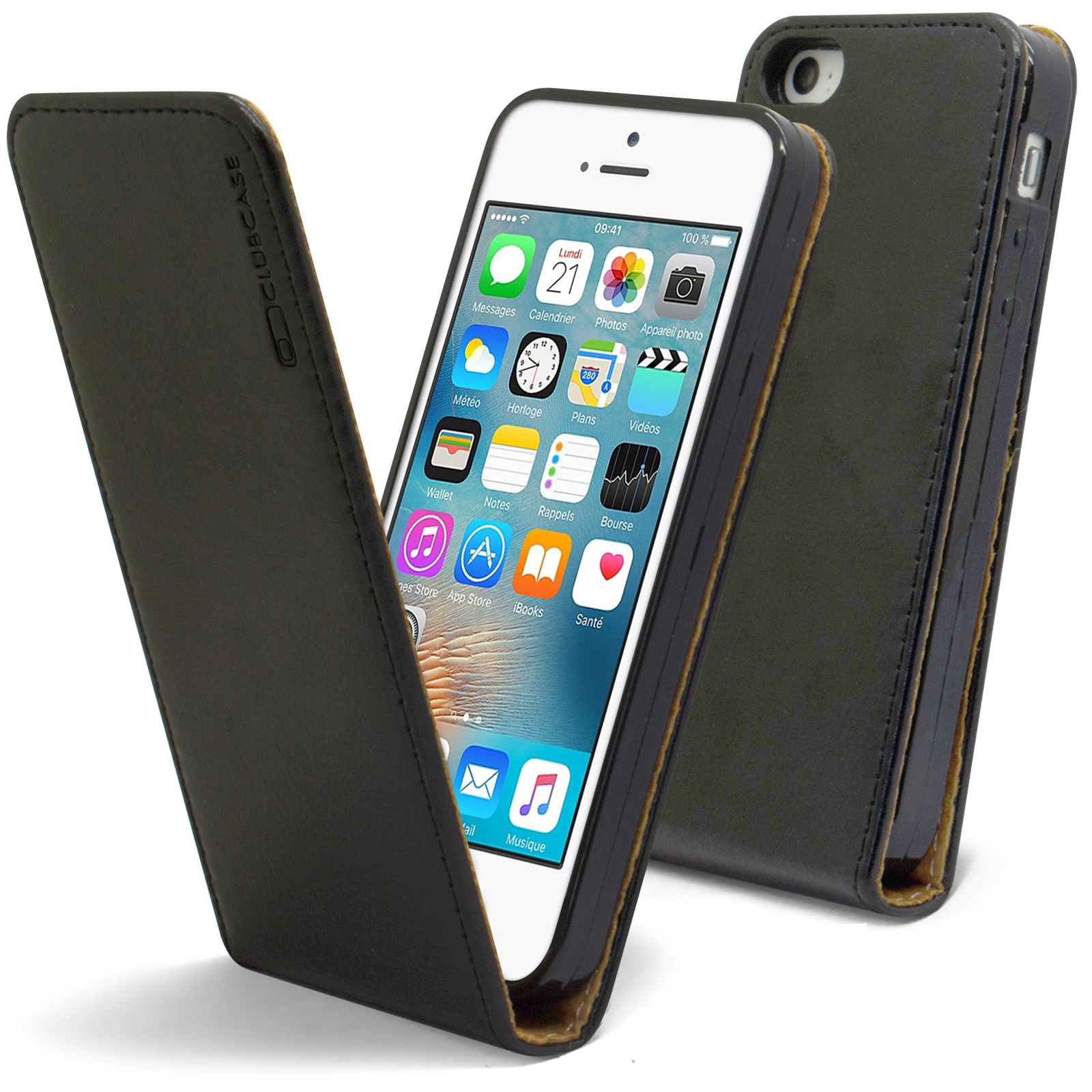 coque rabat vertical souple apple iphone 5 5s se cuir v ritable noir. Black Bedroom Furniture Sets. Home Design Ideas