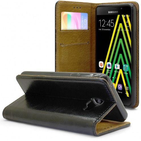 Etui Italia Folio Stand Samsung Galaxy A5 2016 (A510) Cuir Véritable Bovin Noir