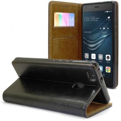 Etui Italia Folio Stand Huawei P9 Lite Cuir Véritable Bovin Noir