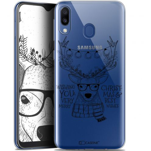 """Coque Gel Samsung Galaxy M20 (6.3"""") Extra Fine Noël 2017 - Cerf Hipster"""