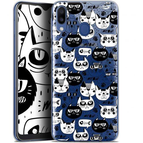 "Coque Gel Samsung Galaxy M20 (6.3"") Extra Fine Motif - Chat Noir Chat Blanc"