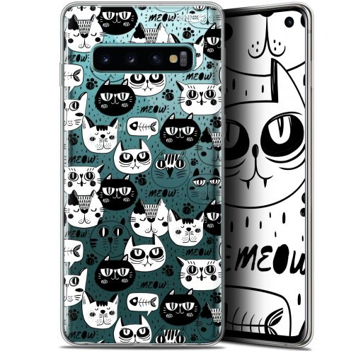 "Coque Gel Samsung Galaxy S10 (6.1"") Extra Fine Motif -  Chat Noir Chat Blanc"