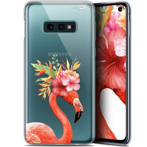 """Coque Gel Samsung Galaxy S10e (5.8"""") Extra Fine Motif -  Flamant Rose Fleuri"""