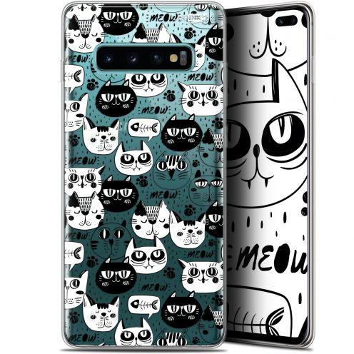 "Coque Gel Samsung Galaxy S10+ (6.4"") Extra Fine Motif -  Chat Noir Chat Blanc"
