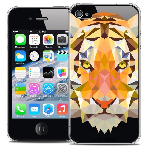 Coque Crystal iPhone 4/4S Extra Fine Polygon Animals - Tigre