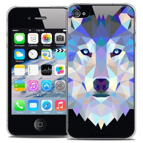 Coque Crystal iPhone 4/4S Extra Fine Polygon Animals - Loup