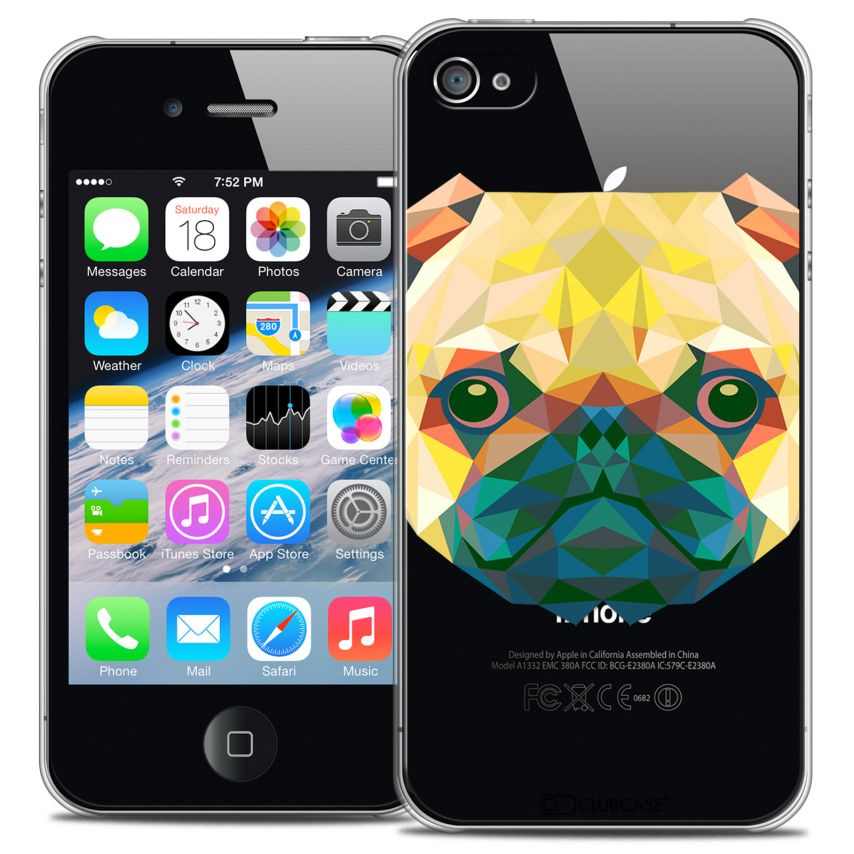 Coque Crystal iPhone 4/4S Extra Fine Polygon Animals - Chien