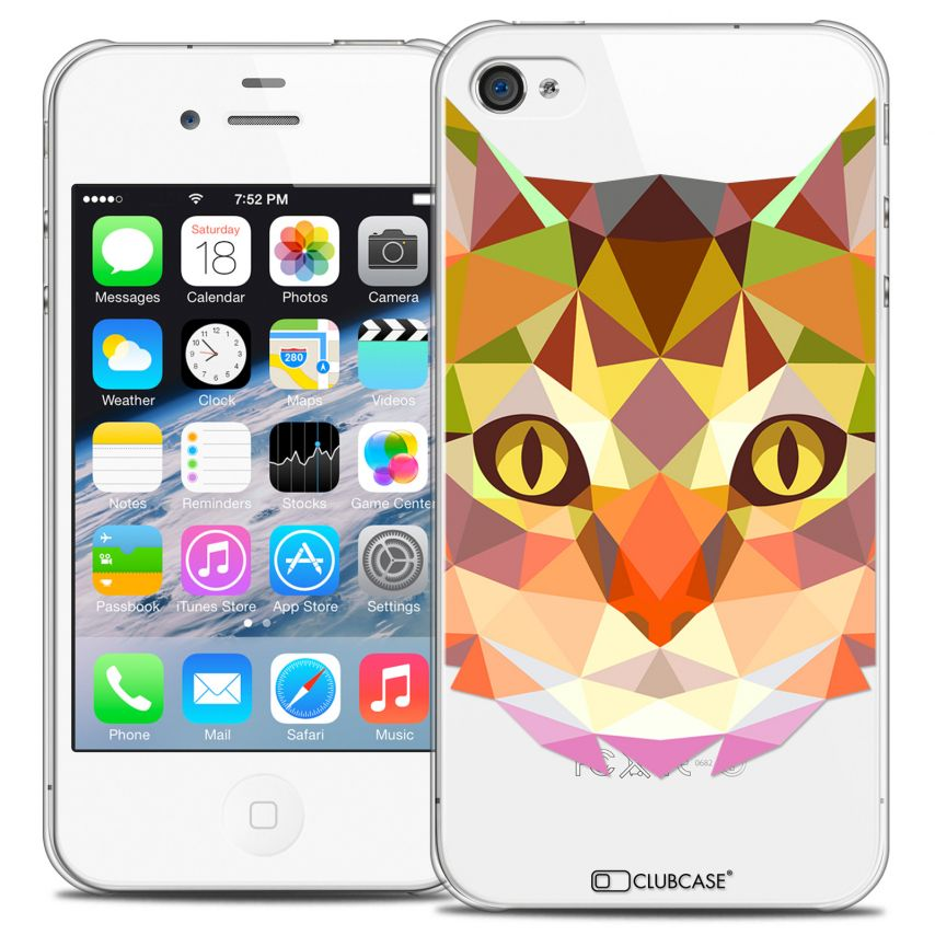 Coque Crystal iPhone 4/4S Extra Fine Polygon Animals - Chat